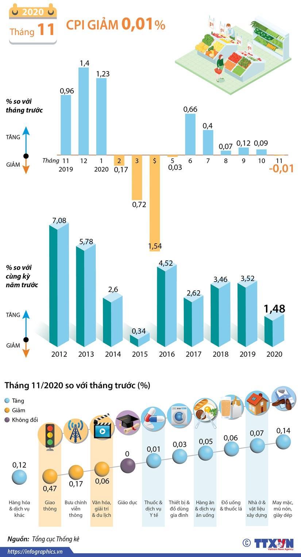 CPI tháng 11/2020 giảm 0,01% so với tháng trước Ảnh 1