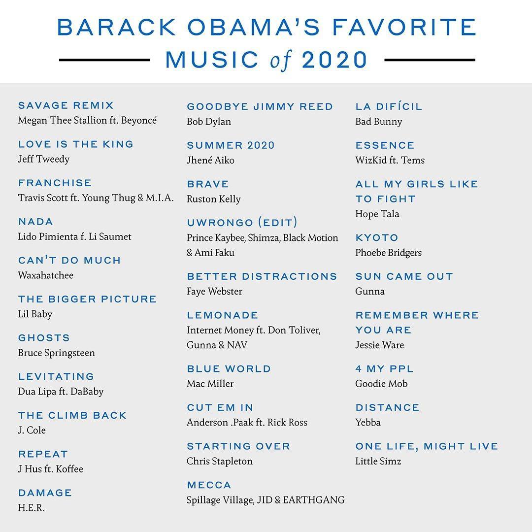Ông Barack Obama thích xem và nghe gì nhất năm 2020? Ảnh 1