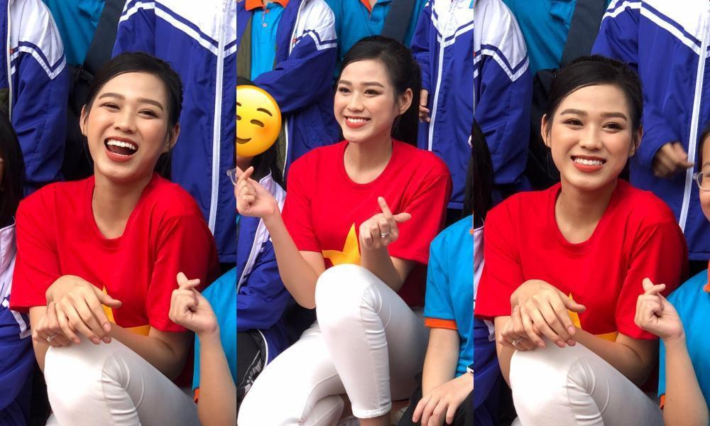 Teen chụp Hoa hậu Đỗ Thị Hà về trường giao lưu, ai nấy đều trầm trồ: 'Đẹp không góc chết!' Ảnh 1