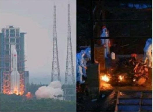 Bức ảnh so sánh cảnh phóng tàu vũ trụ Trung Quốc và việc hỏa thiêu ở Ấn Độ gây ra giận dữ Ảnh 1