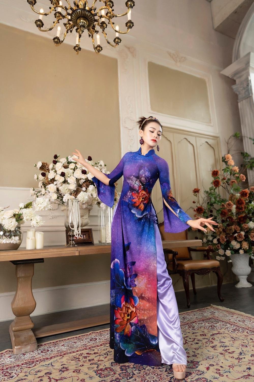 Áo dài Hoa sen truyền thống đón đầu xu thế năm 2021 Ảnh 5