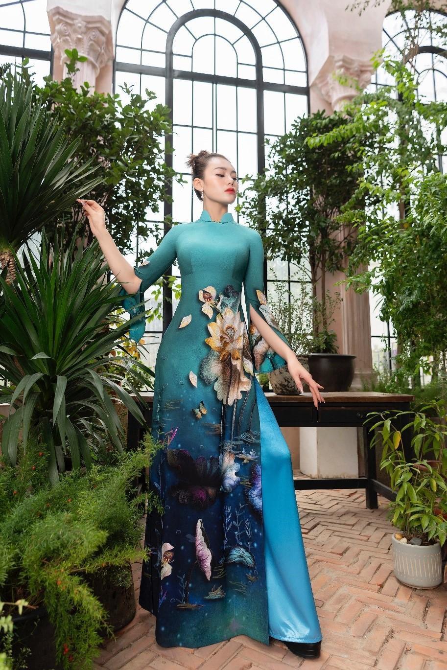 Áo dài Hoa sen truyền thống đón đầu xu thế năm 2021 Ảnh 7