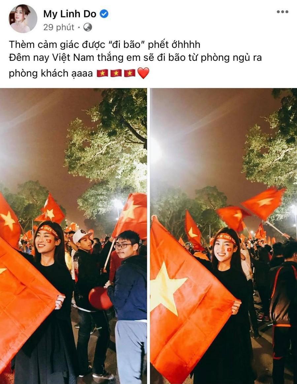 Dàn Hoa hậu, Á hậu nô nức cổ vũ, vỡ òa khi đội tuyển Việt Nam thắng 2-1 trước Malaysia Ảnh 5