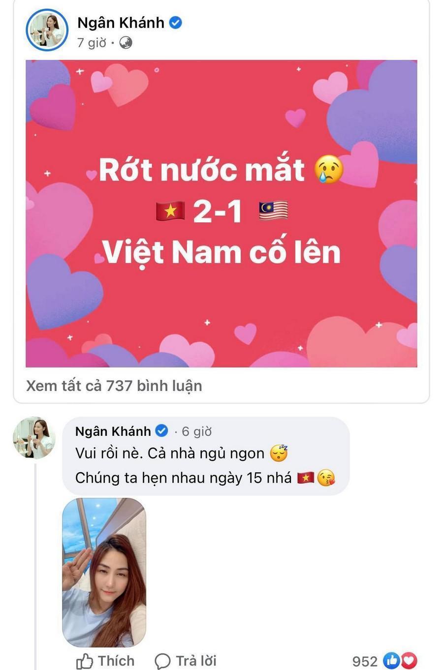 Dàn Hoa hậu, Á hậu nô nức cổ vũ, vỡ òa khi đội tuyển Việt Nam thắng 2-1 trước Malaysia Ảnh 14