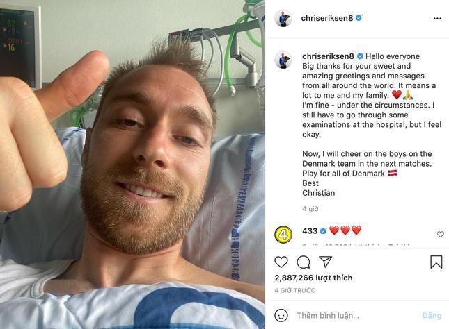Sau 3 ngày bị đột quỵ ngay trên sân EURO, Christian Eriksen đăng ảnh mới trên Instagram Ảnh 1