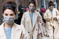 Selena Gomez trẻ trung với tóc đuôi ngựa trên phim trường ở New York