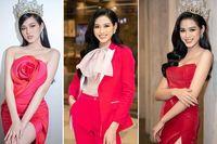 Tuyển tập những bộ váy gam màu đỏ tôn vóc dáng cực nóng bỏng của Hoa hậu Đỗ Thị Hà