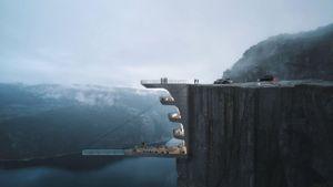 Khách sạn bám vào vách núi, bể bơi treo trên biển
