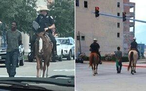 Cảnh sát Mỹ cưỡi ngựa, trói tay nghi phạm da màu trên phố thổi bùng sự phẫn nộ