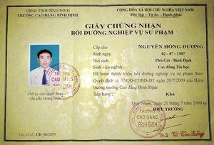 Ủy ban tỉnh Bình Định xin ý kiến Bộ Giáo dục về Giấy chứng nhận nghiệp vụ