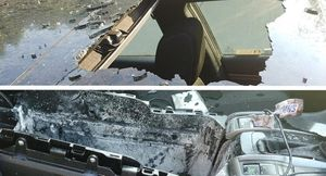 Bình xịt phát nổ trong xe, thổi tung cửa sổ trời