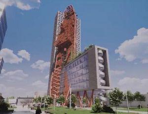 Kiến trúc khác thường của tòa nhà cao 135 m thiết kế giống con tàu dựng đứng