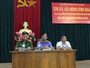 Viện KSND Vĩnh Phúc xin lỗi 3 người bị bỏ tù oan