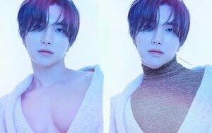 Ảnh quảng bá hờ hững ngực trần của Leeteuk (Super Junior) bất ngờ được fan 'mặc áo' vì lý do không ngờ