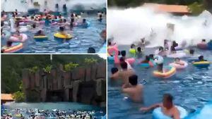 Sóng thần bất ngờ xuất hiện tại công viên nước, 44 người bị thương