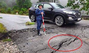 Quốc lộ 16 ở Nghệ An xuất hiện nhiều vết nứt dài, có nơi lún sâu 0,5m