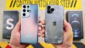 Thả rơi tự do Galaxy S21 Ultra và iPhone 12 Pro Max