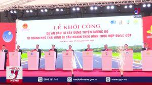 Thái Bình khởi công dự án tuyến đường bộ và hợp long cầu Trà Lý