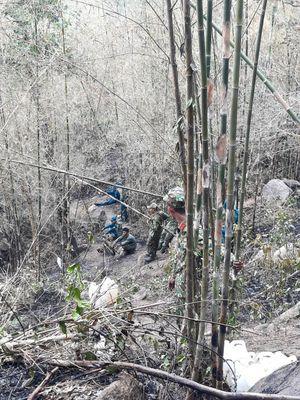 Cán bộ, chiến sĩ Trung đoàn 892 giúp dân chữa cháy rừng