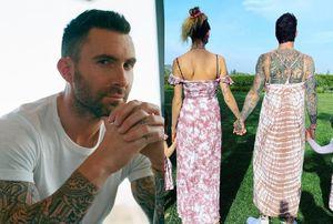 Adam Levine mặc váy cùng vợ con