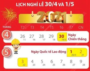 Chi tiết lịch nghỉ dịp lễ 30-4 và mùng 1-5 tới