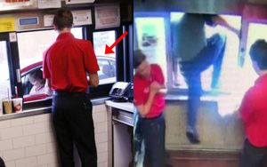 Thấy bé trai ngồi sau xe cư xử kỳ lạ, nhân viên cửa hàng fastfood cầm theo con dao phóng ra ngoài, nhờ đó mà cứu mạng đứa trẻ