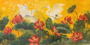 Tặng 108 bức tranh sen tượng trưng cho sự tinh khiết, thức tỉnh và nghị lực kiên cường