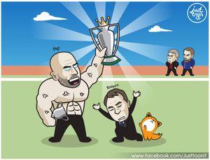 Biếm họa 24h: HLV Pep Guardiola khoe bụng 6 múi khi vô địch Ngoại hạng Anh