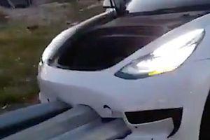 Tesla Model 3 đâm xuyên táo vào dải phân cách