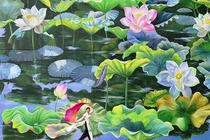 Bức tranh hoa sen ở sân bay Nội Bài đạt giải tại Ý