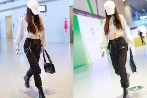 Angelababy mê mệt 'trang phục khoe eo thon', liên tục diện khi xuất hiện ở sân bay, cơ bụng thu hút ánh nhìn