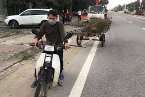 Người đàn ông 'hồn nhiên' đánh cả xe kéo tự chế đi trộm cây cảnh trên quốc lộ