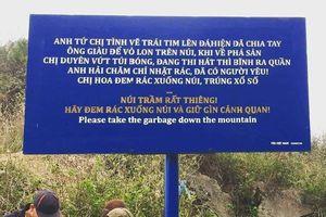 Biển báo nhặt rác có người yêu gây cười tại núi Trầm