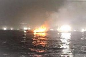 2 người Hà Tĩnh mất tích trong vụ tàu cá ở Hàn Quốc bốc cháy trên biển
