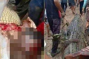 Mổ bụng cá sấu dài 4m, dân làng lạnh người khi nhìn thấy thứ bên trong