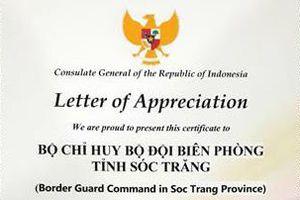 Tổng Lãnh sự quán Indonesia cảm ơn Bộ đội Biên phòng Sóc Trăng đã cứu thuyền viên bị nạn