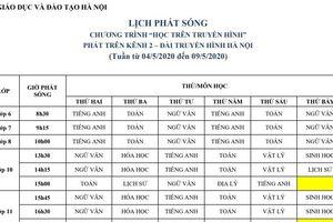 Hà Nội: Lịch phát sóng học trên truyền hình từ ngày 4/5 đến 9/5