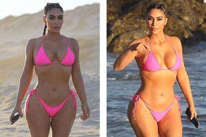 Kim phô thân hình 'đồng hồ cát' với bikini hồng, vô tư nhào lộn trên bãi biển