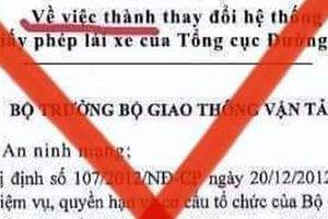 Giả mạo quyết định của Bộ trưởng Nguyễn Văn Thể về thay đổi hệ thống tra cứu giấy phép lái xe