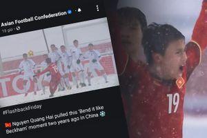Trang web AFC đăng lại cú sút phạt của Quang Hải