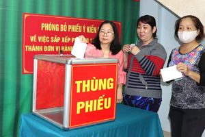 Cử tri thành phố Hồ Chí Minh phấn khởi bỏ phiếu cho ý kiến về sáp nhập phường, quận