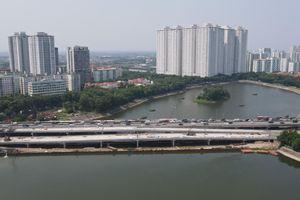 Toàn cảnh cầu vượt hồ Linh Đàm hoàn thành trước ngày thông xe