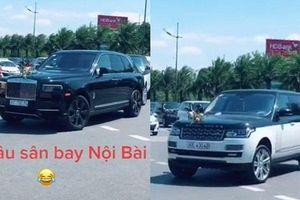 Clip: Choáng với đàn siêu xe 'xịn sò' đón dâu ở Nội Bài