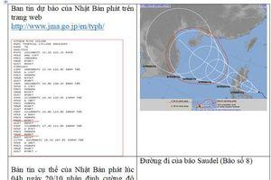 Bác bỏ thông tin bão số 8 có khả năng mạnh lên tới cấp ''siêu bão''