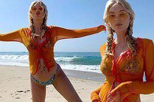 Thiên thần nội y Elsa Hosk mặc bikini khoe bụng bầu ở biển