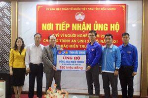 Tỉnh Đoàn Bắc Giang tiếp nhận 350 triệu đồng ủng hộ miền Trung