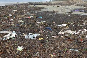 Lũ rút, rác dày đặc ở bãi biển Hà Tĩnh
