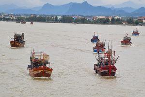 Bão qua đi, hàng trăm tàu thuyền về neo sông Nhật Lệ chờ ngày ra khơi trở lại