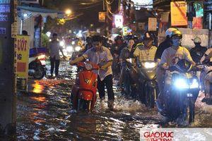 TP.HCM: Người dân bì bõm lội nước về nhà trong ngày triều cường dâng cao