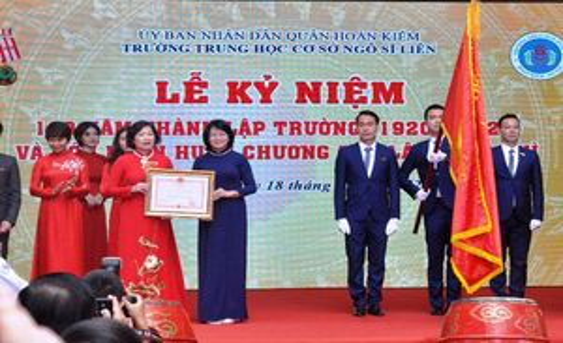 Phó Chủ tịch nước dự Lễ kỷ niệm 100 năm thành lập Trường THCS Ngô Sĩ Liên